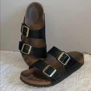 Birkenstock Arizona Black snakeskin Sandals 39